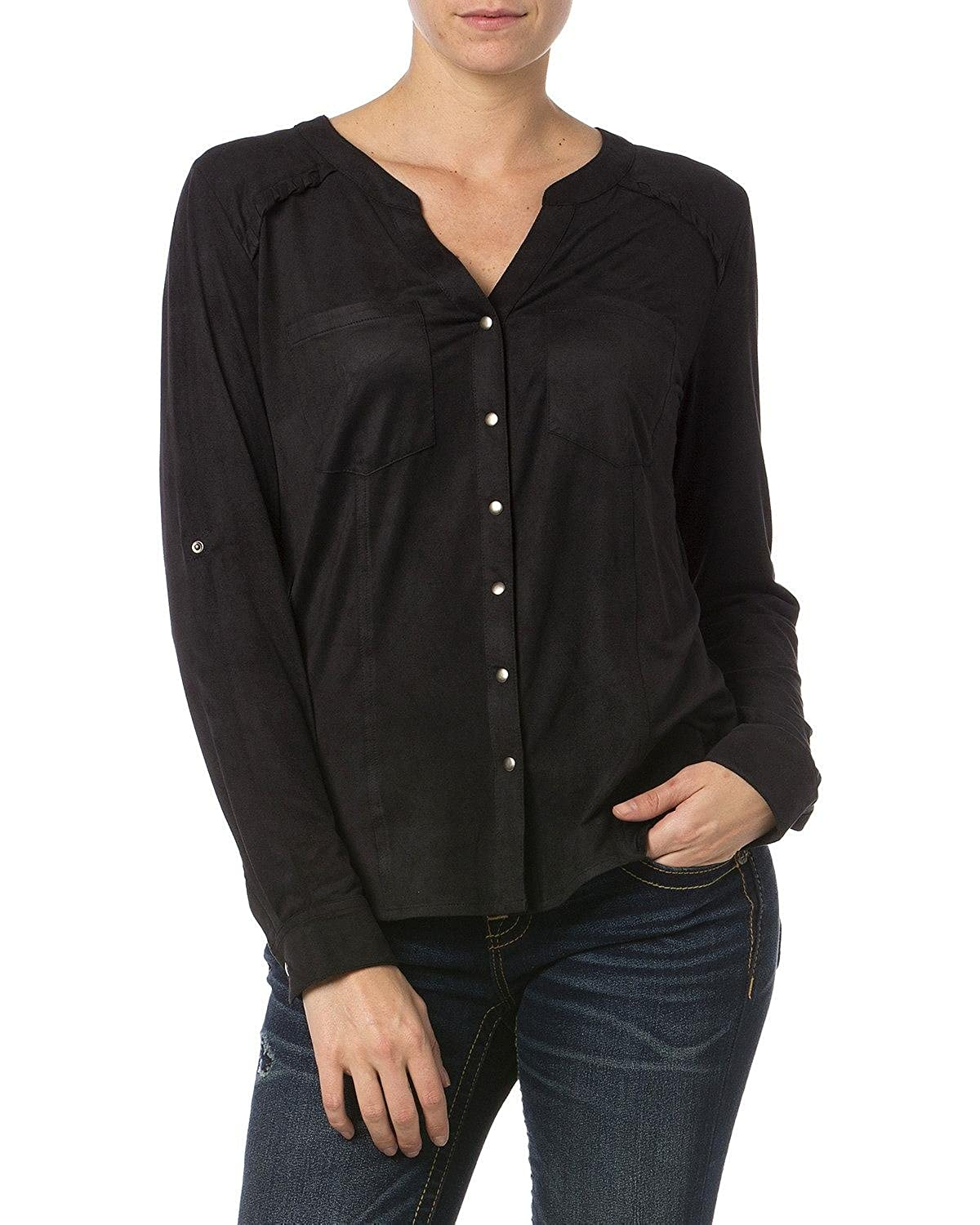 Miss Me Women's Y-Neck Snap Front Top - Mdt1309l Black