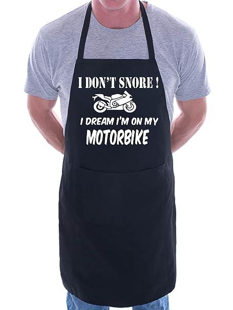 No Snore sueño en moto para barbacoa – Delantal, diseño de, algodón, negro