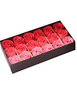 18PCS Bath Soaps Rose Flower Body Soap Gift Box for Valentine's Day Wedding Day (Gradient Red)