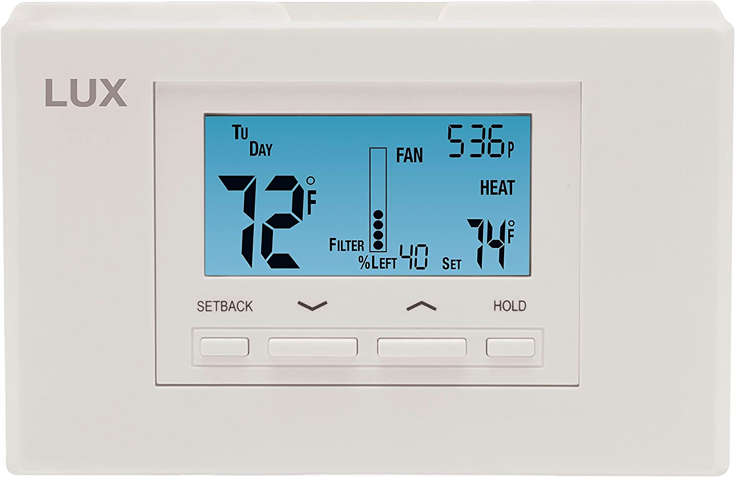 Lux Thermostat Program 5-1-1 day with selectable smart recovery, universal compatability