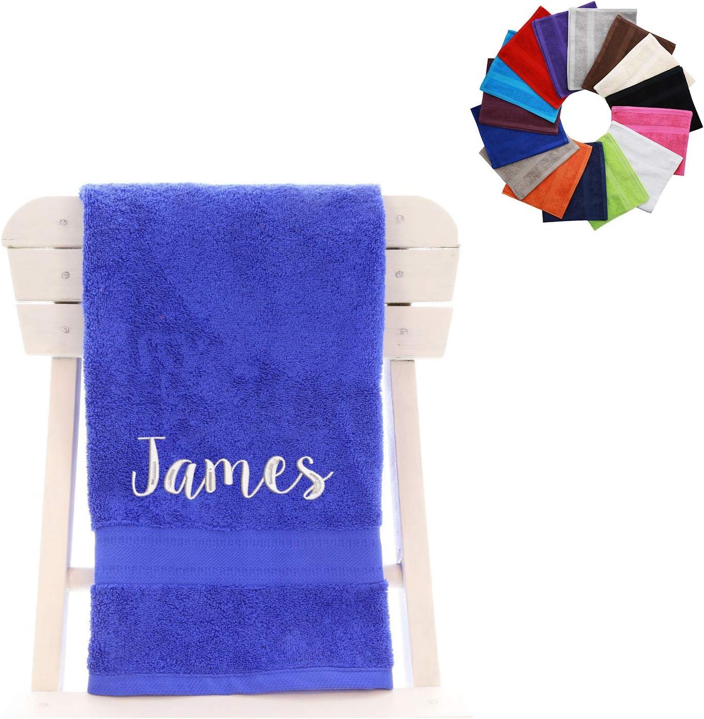 Toalla de personalizado con un nombre 100% algodón peinado, azul cobalto, Toalla de baño: Amazon.es: Hogar