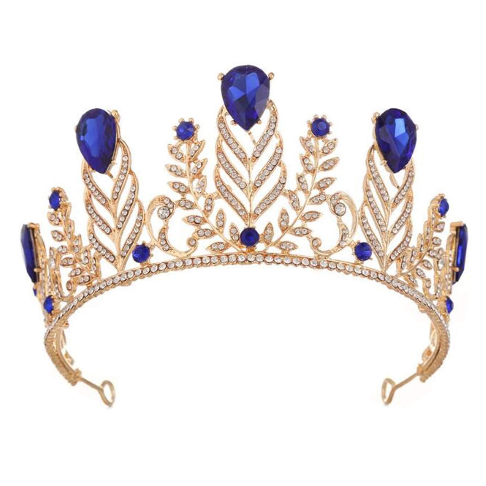 Wiipu Vintage Rhinestone Feather Crown Wedding Crystal Leaf Bride Tiara Headband(A1346) (Blue)