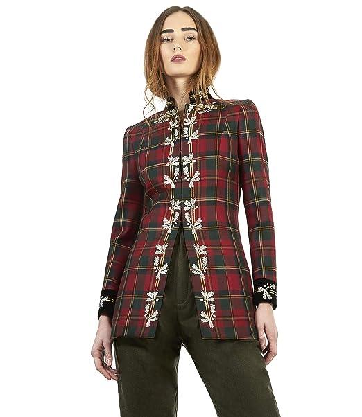 The Extreme Collection® - Blazer Bordados Cuadro escoces para Mujer (Rojo 01783e2fbc49c