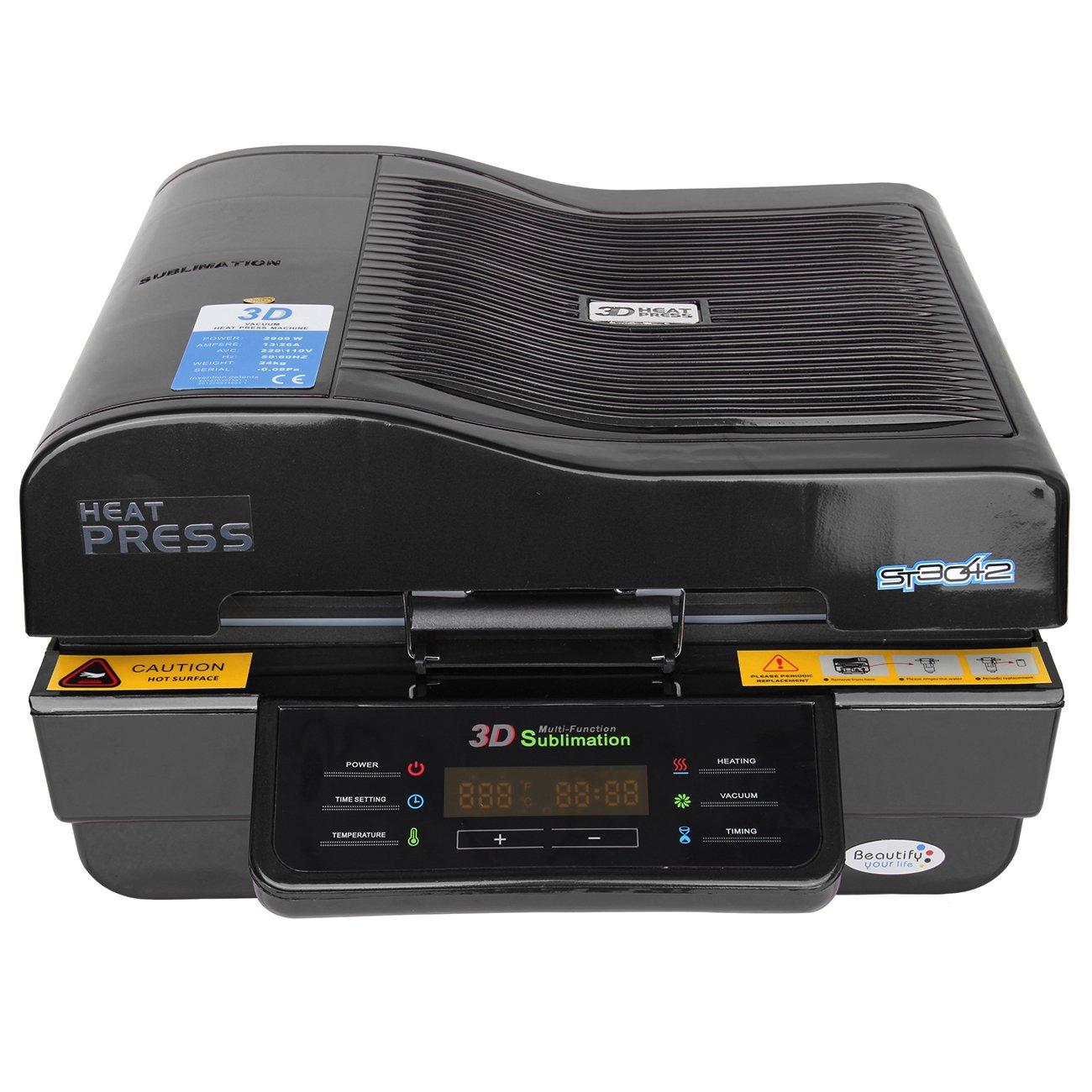 PanelTech 3D Vacuum Sublimation Machine Heat Press Mug/Cup/Iphone Case/Plate Printing Transfer Machine (Black)