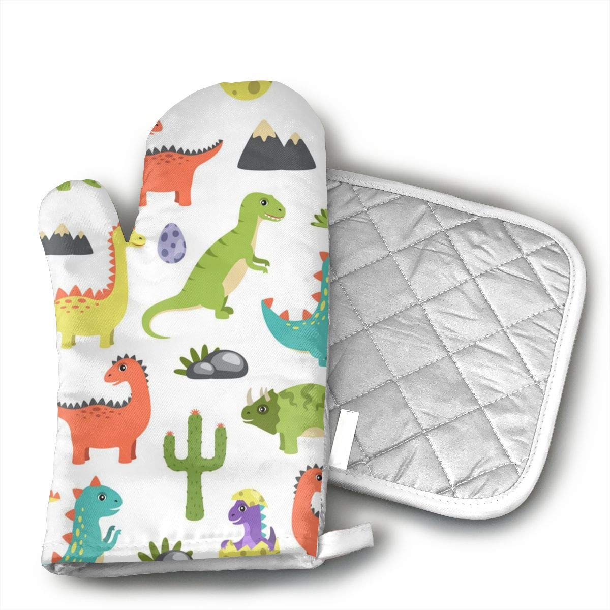 UYRHFS Dino Image Oven Mitts and Pot Holder Kitchen Set with, Heat Resistant, Oven Gloves and Pot Holders 2pcs Set for BBQ Cooking Baking