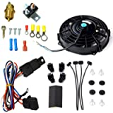 BLACKHORSE-RACING 10' Electric Radiator Fan High 3000 + CFM Thermostat Wiring Switch Relay Kit Black (10 inch)