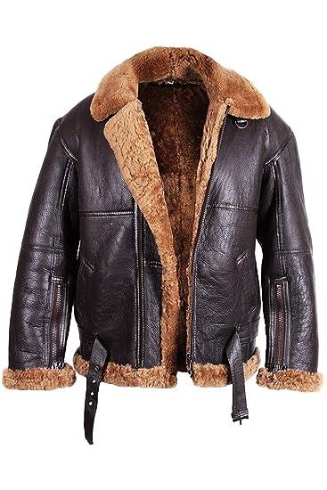 Brandslock Men s Aviator Real Shearling Sheepskin Leather Bomber Flying  Jacket BNWT  Amazon.co.uk  Clothing 539025b8e729