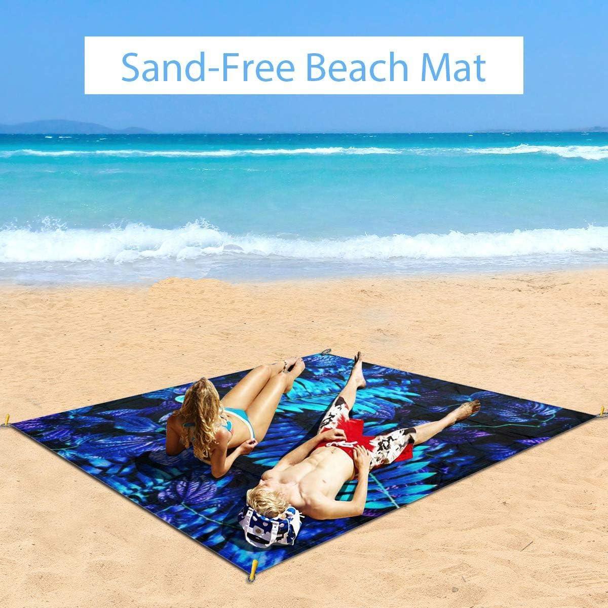 Txc9ds Blue Leaf - Tappetino da picnic all'aperto per parco, spiaggia, campeggio, portatile, impermeabile Foglia blu.