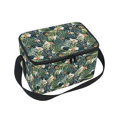 Alaza palmier Floral Sac à déjeuner isotherme Box Cooler Sac fourre-tout réutilisable Sac extérieur Voyage Sac de pique-nique avec bandoulière pour femmes Hommes adultes enfants 10x7x6 inche