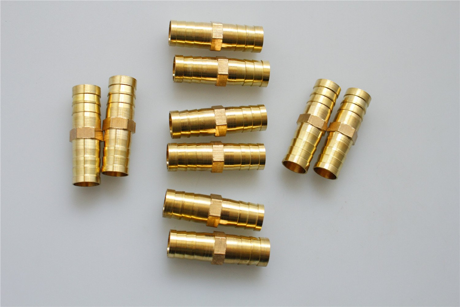 10Pcs Quick Coupling Fitting Brass 12mm to 12mm Straight Hose Barb