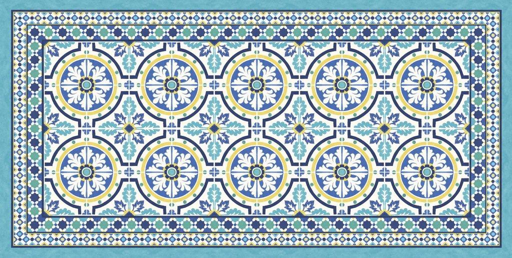 Vilber Große Chef Tanger Teppich, Vinyl, blau, 75 x 180 x 0.2 cm