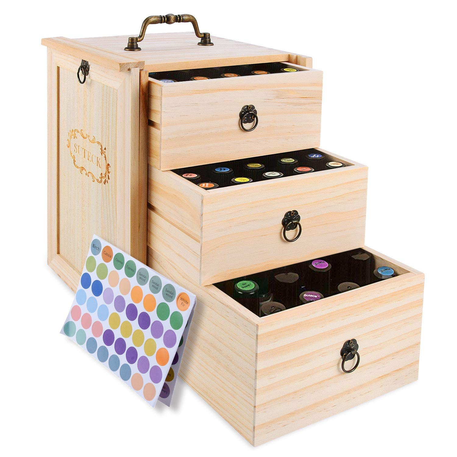 3 Tier Essential Oil Box Wooden Storage Case With Handle Holds for 75 Bottles & Roller Balls Essential Oil Space Saver Free EO Labels by Suteck