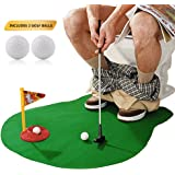 Potty Golf Drinker Toilet Toy Putter Putting Game Golfing Indoor Practice Mini Golf Gift Set Golf Training Accessory for Men Women and Kids