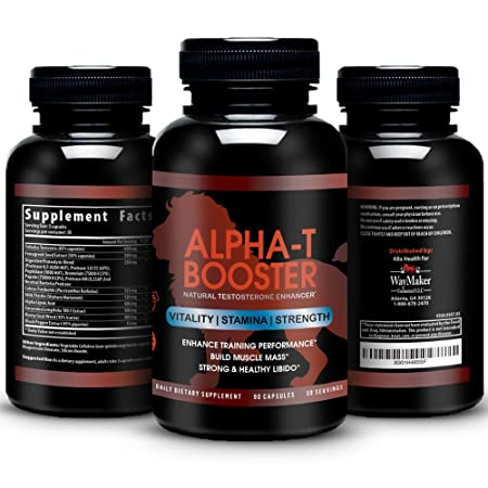 Alpha-T Testosterone Booster – Naturally Increase Testo-Levels, Athletic Performance, Vitality Energy Male Enhancement – Tribulus, Fenugreek, Tongkat Ali, Enzymatic Blend – 90 Veggie Caps