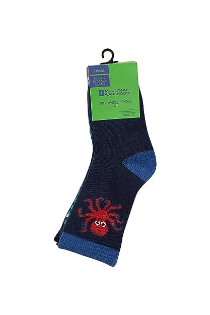 Mountain Warehouse Calcetines Tobilleros Ocean para niños - 5 Pares de Calcetines de Verano Unisex -