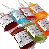 """Live """"Blood"""" of Theme Parties - 10 Pack Amazlab Blood Bag Drink Container Set of 10 IV Bags 11.5 Fl Oz, Halloween Party Cups"""
