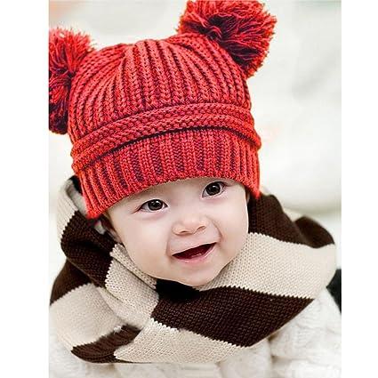 Prevently Marca sólido Moda Lindo bebé niños Chica Chico Doble Bolas Invierno  cálido Punto Cap Hat 7c1627ef82a