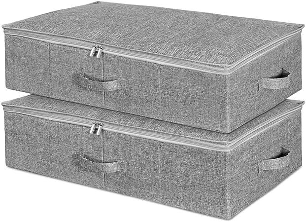 SimpleHome 2er Bolsas de almacenamiento bajo la cama, Cajas de almacenamiento debajo de la cama con tapas, Organizadores de armario plegables para sábanas de ropa, 70 x 43 x 18 cm.: Amazon.es: Hogar