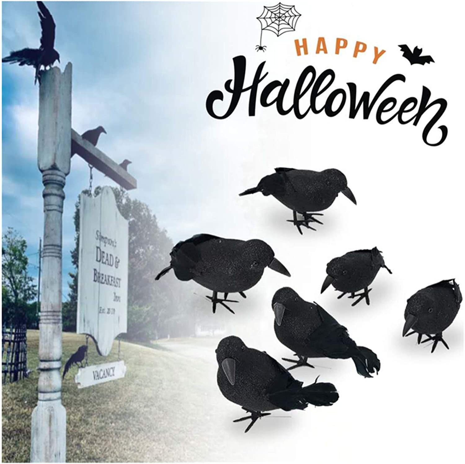 Sokiss Halloween Decorations Crows Realistic Feathered Halloween Crows and Ravens Decor Artificial Black Birds Prop for Outdoor Indoor Halloween Holiday Party Decor
