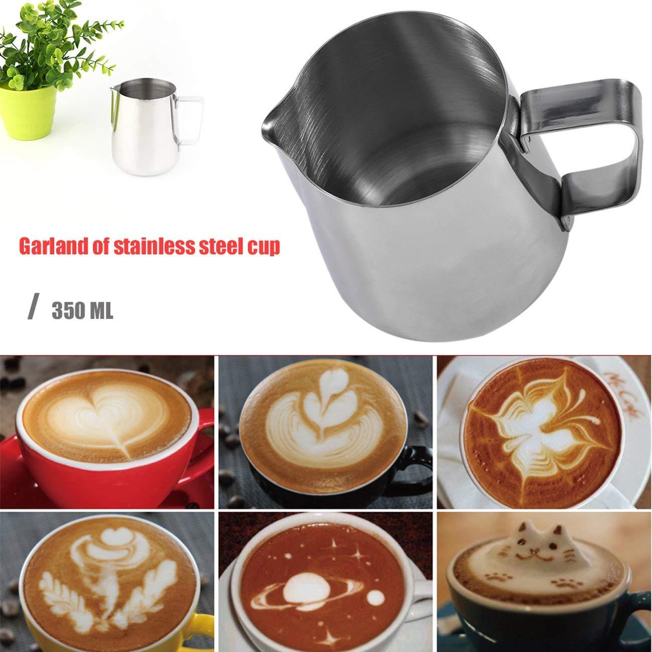 Fannty Outils de Cuisson de Cappuccino de Tasse de Fleur de Tasse de Fleur de pichet dacier Inoxydable