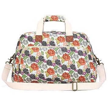 f0f5e9b7c2b7 Plambag Canvas Overnight Bag for Women, Floal Design Travel Duffel  Weekender Bag