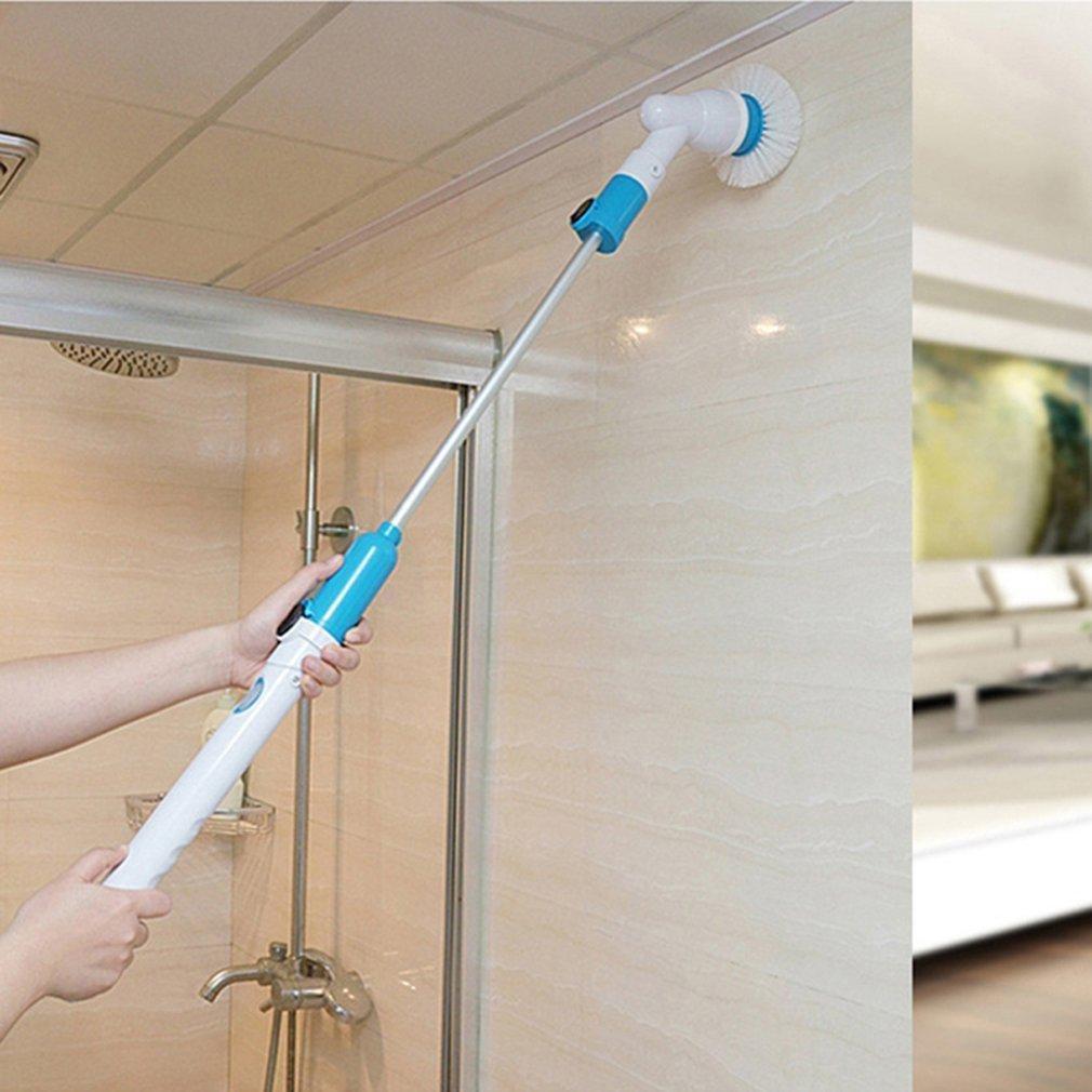 mur et cuisine 1 bras dextension et adaptateur pour salle de bains plancher Scrubber Spin Turbo Scrub -360 sans fil baignoire et carrelage avec 3 t/êtes de brosse de nettoyage rempla/çables