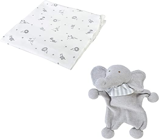 Under the Nile - Manta de algodón orgánico Unisex para bebé, Color Gris Jungla y muñeca de Elefante de 9 Pulgadas: Amazon.es: Hogar