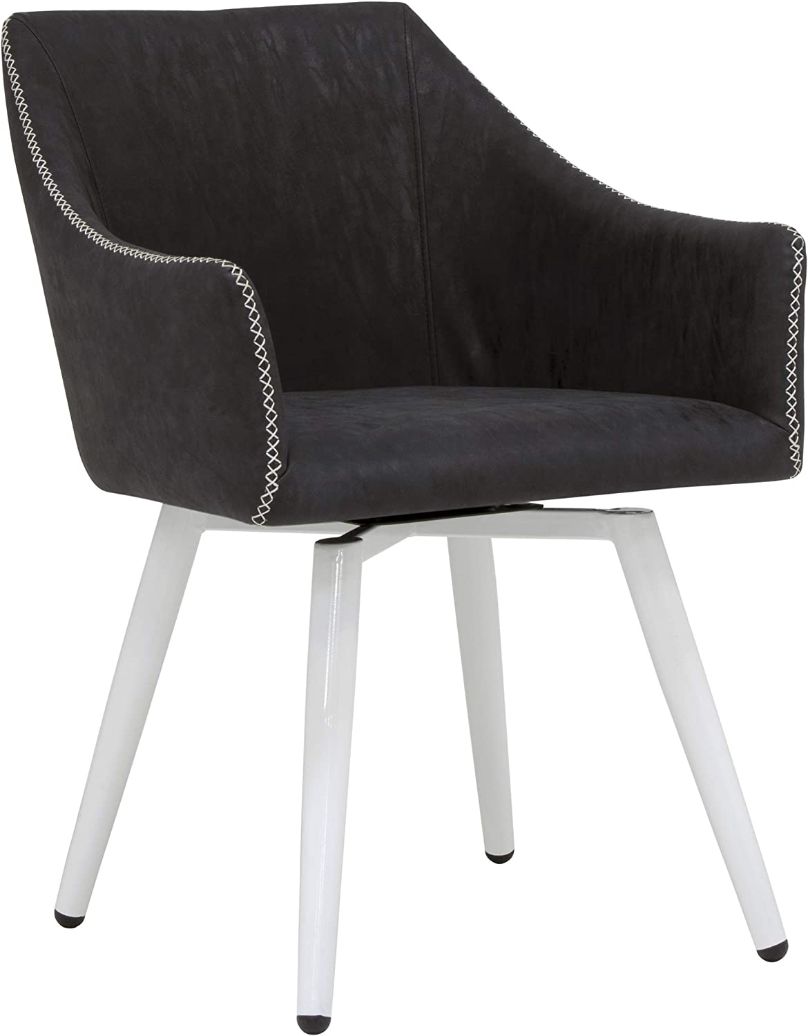Calico Designs Sydney Swivel, Mid Back Home Office Accent Chair with Arms, No Casters, in White Metal Legs/Crinkled Patterned Dark Gray Faux Leather with Stitching Detail, Grey