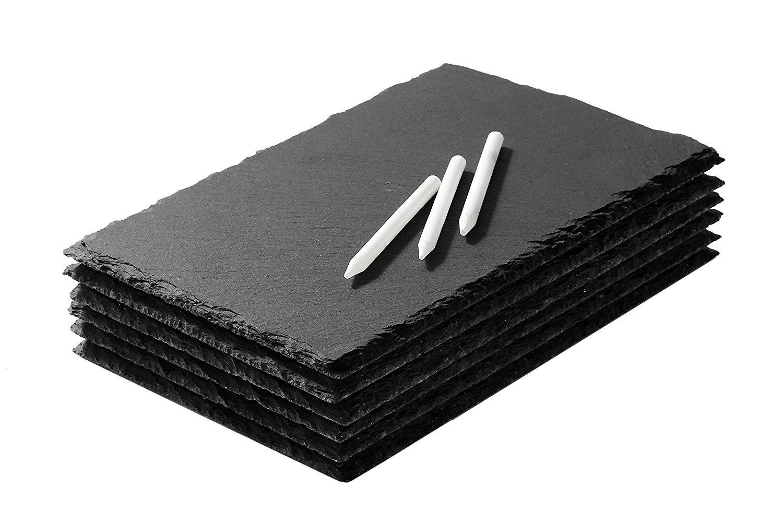 /Set de 6/bandejas de pizarra/ Juvale Mini Slate queso juntas/ /Juego de bandejas para cualquier ocasi/ón/ /f/ácil de limpiar/ /estilo moderno/ /tiza incluido/&