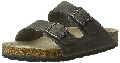 BIRKENSTOCK Classic Unisex-Erwachsene Arizona Leder Softfootbed Pantoletten, Schwarz (Artic Old Iron), 41 EU