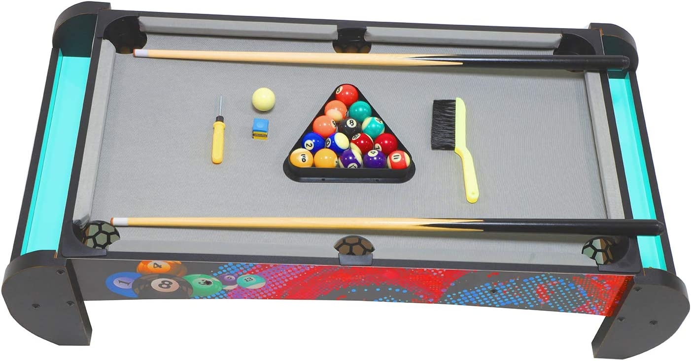 Tabletop Pool Set -Billiards Table Game Set, Mini Pool Table for Premium Tabletop Billiards Mini Snooker Game Set Travel-Size Billiards Table top with Balls, Cues, and Rack