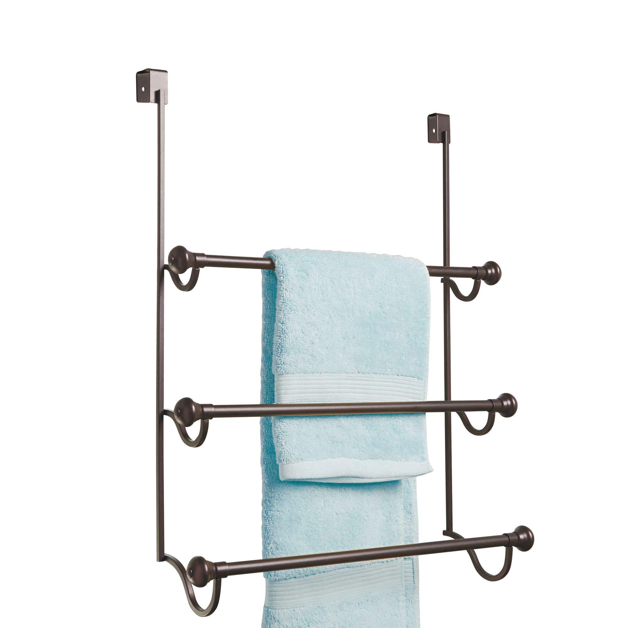 InterDesign York Metal Over The Shower Door Towel Rack, Hooks for Master, Guest, Kids' Bathroom, 17.75'' x 4.75'' x 22.5'', Bronze