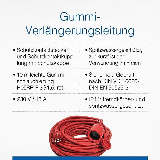 As Schwabe Gummi Verlängerungsleitung 10 M Kabel Mit Schutzkontaktwickelstecker Schutzkontaktkupplung Inkl Schutzkappe 230 V 16 A Verlängerungskabel Ip44 Rot I 60210 Baumarkt
