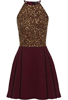 12a1210be7a SHEEN Embellished Cut Out Skater Dress in Burgundy  Amazon.co.uk ...