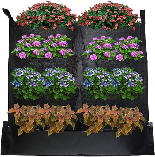 Macetero vertical con 8 compartimentos para jardinería, para colgar en la pared, bolsas de cultivo, decoración del hogar, jardín vertical: Amazon.es: Hogar