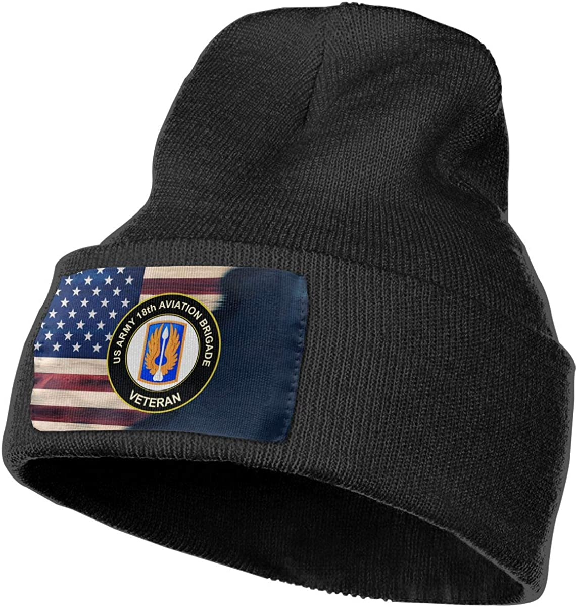 FORDSAN CP US Army 18th Aviation Brigade Veteran Mens Beanie Cap Skull Cap Winter Warm Knitting Hats.