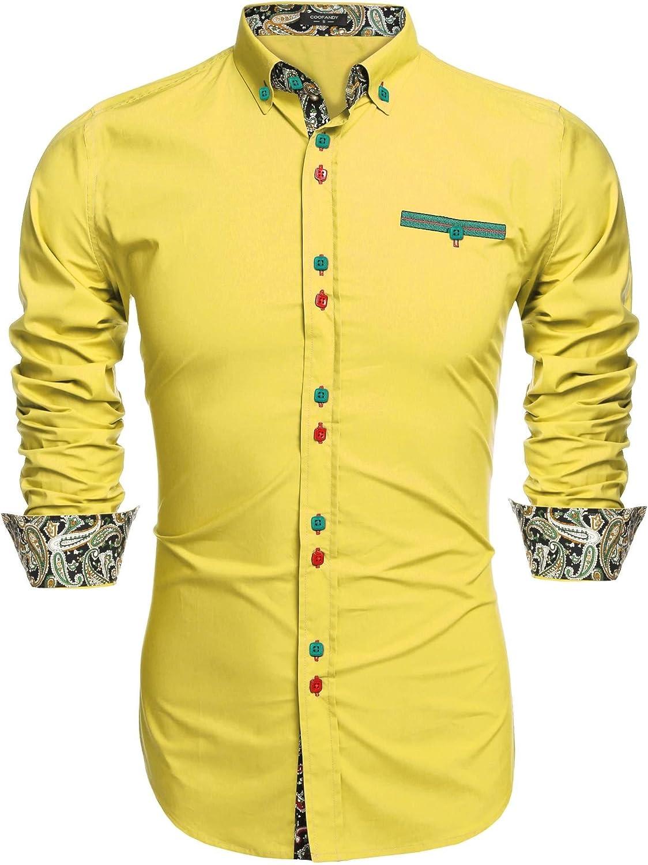 Coofandy Camisa Casual Manga Larga para Hombre de Moda