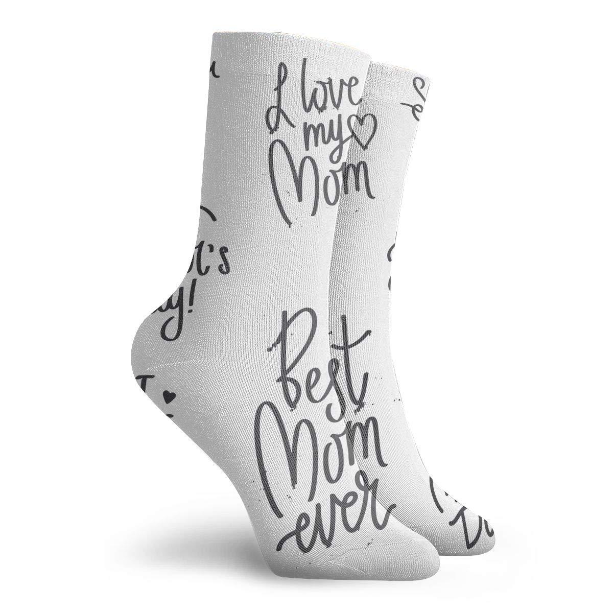 Quote I Love You Mom Fashion Dress Socks Short Socks Leisure Travel 11.8 Inch