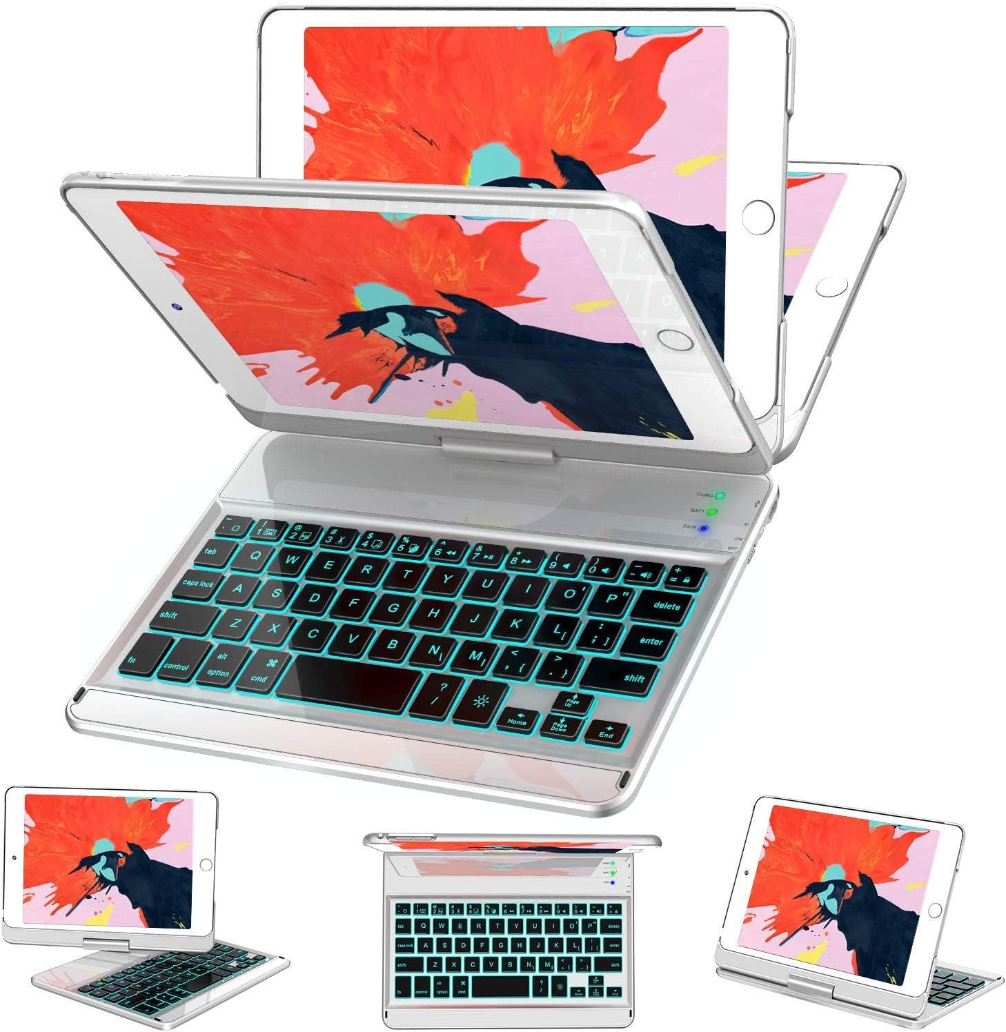 iPad Mini 5/ Mini 4 Keyboard Case - 7 Colors Backlit 360 Rotate 180 Flip Wireless Smart Folio Auto Sleep/Wake Hard Cover fit iPad Mini 5 2019(5th Gen)/ iPad Mini 4 2015