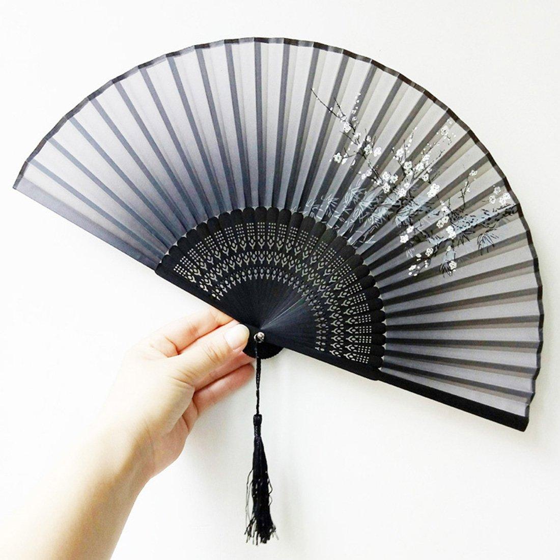 HBOS Handheld Folding Fans Japanese Flower Folding Fan Chinese Fan Silk Fan Ancient Style