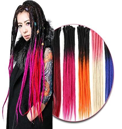 MZP rastas de colores hechos a mano peluca hombres y las mujeres el pelo trenzado de