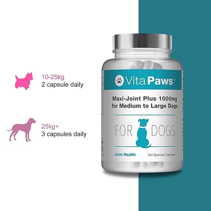 VitaPawsTM Maxi-Joint Plus 1000mg | 120 cápsulas para espolvorear| Para favorecer la salud de las articulaciones de nuestra mascota | Indicado para perros ...