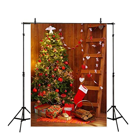 Funnytree 5x7ft Christmas Vintage Wooden House Backdrops For Photography Wood Board Ladder Pine Tree Red Stocking Background Gifts Decoration