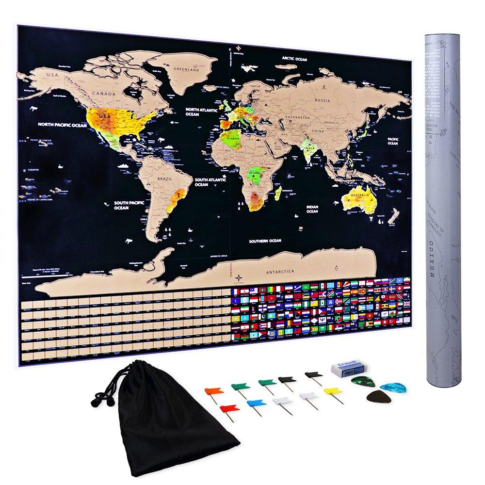 Mapa para Rascar Scratch Off Map XXL Con Tinta Dorada Mapa Mundi de Pared Juego de Memoria Regalo para Ni/ños Viajeros Negro | 82.5cm x 59 cm