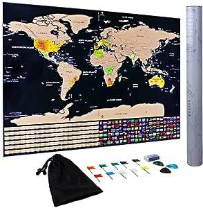 Mapa para Rascar Scratch Off Map XXL Con Tinta Dorada Mapa Mundi ...