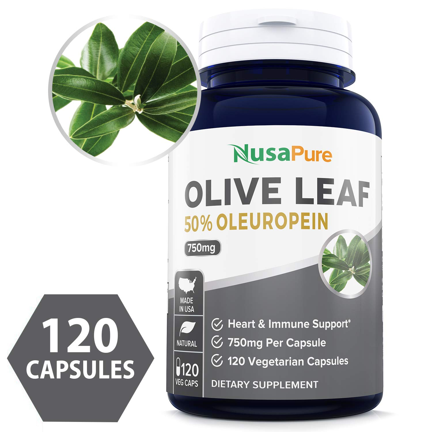 Olive Leaf Extract Non-GMO Gluten Free 750 mg – 50 Oleuropein – Vegetarian – Super Strength – Immune Support, Cardiovascular Health Antioxidant Supplement – No Oil – 120 Capsules