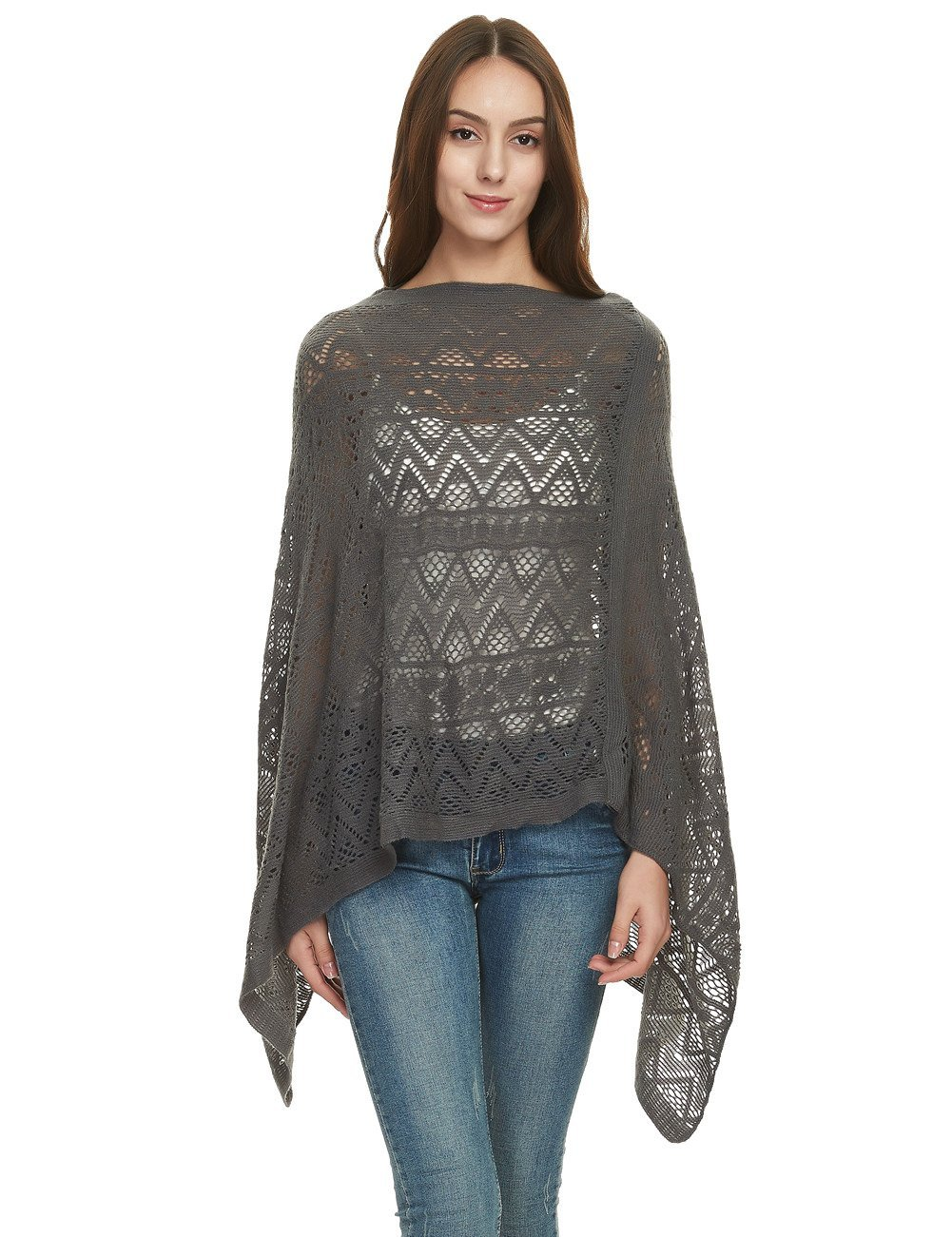 Ferand Women's Asymmetrical Crochet Poncho Tops in Multi-Way Neck Style, One Size, Dark Gray