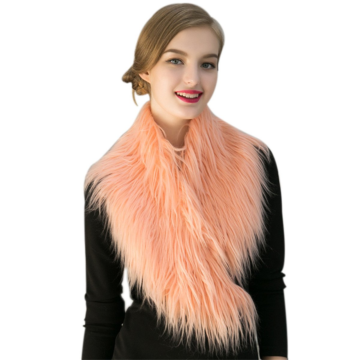 Women Trendy Artificial Fur Collar Pink Scarf Winter Warmer Cape Stole