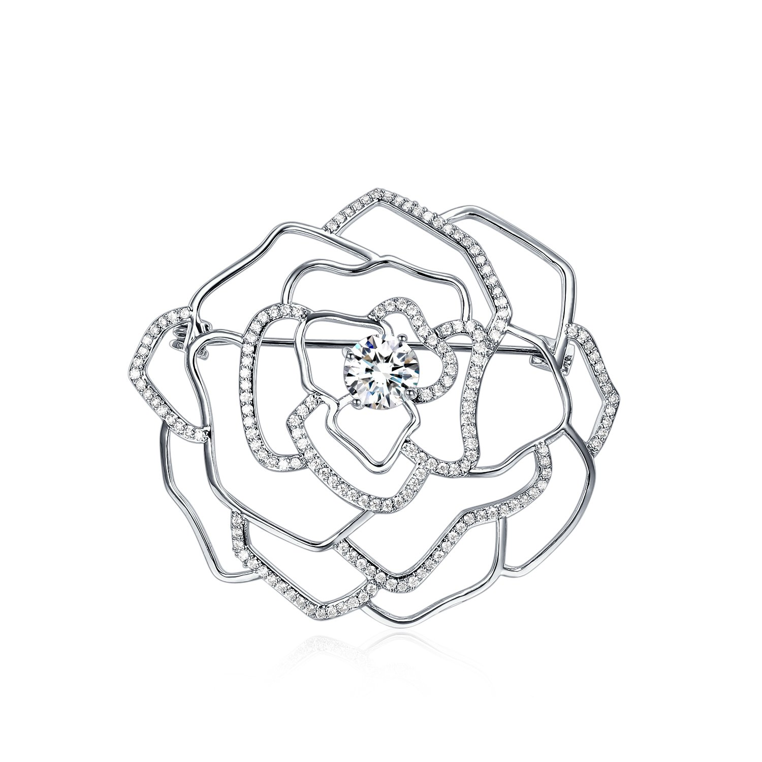 UMODE Peony Brooches, Hallow Cubic Zirconia Pins for Women