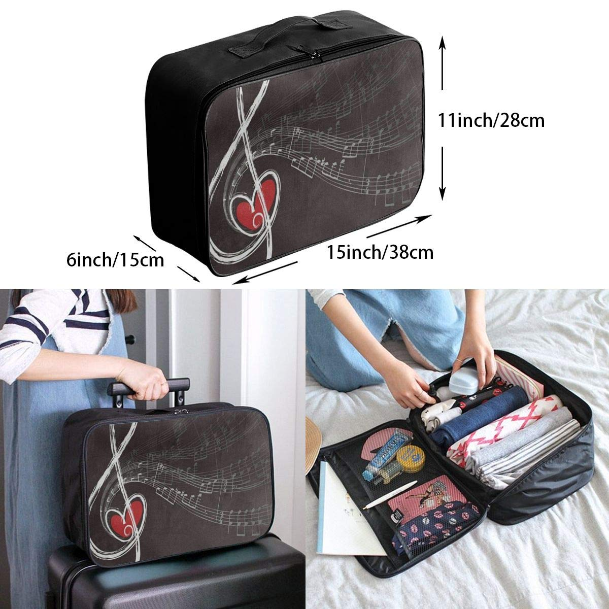 Luggage Bag Travel Duffel Bag Waterproof Treble Love Music Note Lightweight Large Capacity Portable Storage Bag